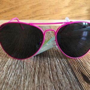 Women Sunglasses Girl Pink Eye Wear Pink Metal Fra